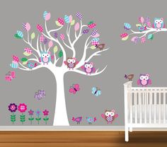 Custom Children Wall Decal Baby Nursery Wall Stickers Owl Decal Butterflies Flowers. $129.99, via Etsy.
