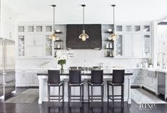 Transitional White Kitchen with a Trio of Pendant Lights