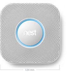 Nest Protect smoke and carbon monoxide alarm. Interfaces with Nest thermostat and mobile devices.