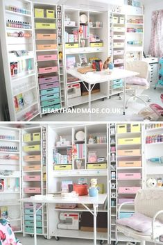 If you're in need of a craft desk or sewing table, I've written a HUGE guide + the best solutions for your dream craft room Craft Tables With Storage, Craft Storage Cabinets, Craft Cabinet, Ikea Cart, Small Craft Rooms, Do It Yourself Decorating, Pastel Decor, Craft Desk, Top Blogs