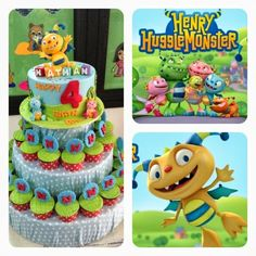 made by Siany: Henry Hugglemonster cake n cupcake in tier for Nathan bday