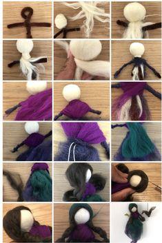 make Waldfee from Märchenwolle himself Wool Dolls, Felt Dolls, Doll Crafts, Diy Doll, Needle Felting Tutorials, Felt Fairy, Needle Felted Animals, Felt Animals, Wet Felting