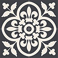 Vinyl Floor Tile Sticker - Floor decals - Carreaux Ciment Encaustic Corona Tile Sticker Pack in Black wände malen ? Floor Decal, Floor Stickers, Tile Decals, Tile Stencils, Stenciling, Vinyl Decals, Stenciled Floor, Floor Stencil, Stair Risers
