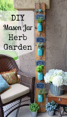 DIY Ways to Decorate Your Porch This Summer No country porch is complete without a craft that involves Mason jars, like this vertical herb garden.No country porch is complete without a craft that involves Mason jars, like this vertical herb garden.