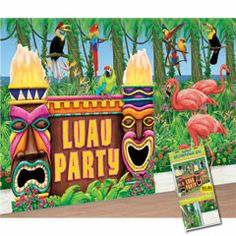 """Luau Party Decorating Kit from Windy City Novelties; WINNER! Cheap way to add """"theme"""" to kids rooms! $22"""