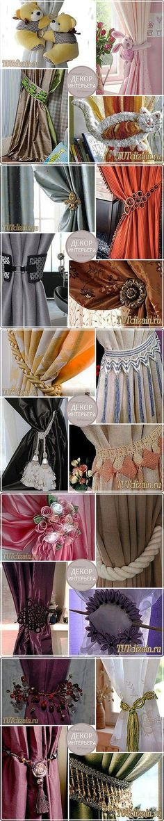 Jewelry for curtains - pickups\' Design & Decor the hands // Светлана Куприянова Curtain Patterns, Curtain Designs, Hanging Curtains, Drapes Curtains, Valances, Window Coverings, Window Treatments, Curtain Holder, Curtain Styles