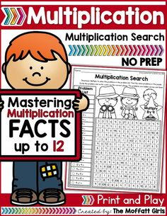 Mastering multiplication facts is such an important component to math fluency. This packet is hands-on, FUN, engaging and provides students with a meaningful way to help master basic multiplication facts from while having FUN! Math Tutor, Teaching Math, Math 2, Fun Math Games, Phonics Activities, Multiplication Facts, Math Facts, Math Help, Learn Math