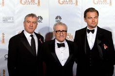Robert De Niro, el director Martin Scorsese y Leonardo DiCaprio.