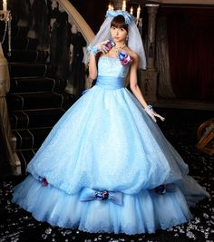 Cinderella-like wedding dress! I think it's also nice to wear blue dress for your wedding instead of white. Funky Wedding Dresses, Wedding Dinner Dress, Fluffy Wedding Dress, Fantasy Gowns, Fairytale Dress, Ball Gown Dresses, Beautiful Gowns, Pretty Outfits, Dress Collection