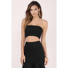 Tobi Anything Goes Strapless Crop Top ($32) ❤ liked on Polyvore featuring tops, black, black cut out top, crop bustier, black bustier top, crop top and cut-out tops