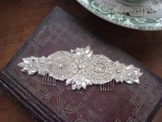 Swarovski crystal and rhinestone hand beaded #bridal #headpiece for bridetobe Sharnee  www.allaboutromance.com.au