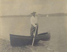 President Theodore Roosevelt standing in a canoe on September 11, 1905.