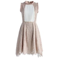 Chicwish Elegant Essence Lace Dress in Nude Pink ($62) ❤ liked on Polyvore featuring dresses, pink, pink crochet dress, pink pleated dress, brown dresses, eyelet dress and nude lace dress