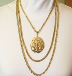 Triple Gold Plate Chains Locket Necklace Vintage Rope Cable Curb Link  #VintageNecklaces #Lockets #Chains