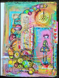 Artwork created by Kassa using rubber stamps designed by Daniel Torrente for Stampotique Originals