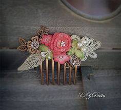 Vintage hair accessories. Decorative Applique . Crochet flowers. by ezdessin. Explore more products on http://ezdessin.etsy.com