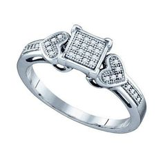 Sterling Silver 0.10CTW DIAMOND MICRO PAVE RING: Rings