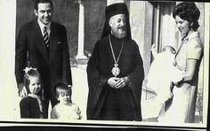 18 January 1970 - Cyprus Archbishop Makarios visits with exiled King Constantine II, Queen Anne-Marie and their children in Rome.
