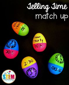 Easter egg telling time match up! This would be such a fun math center or telling time game. Great way to use up those plastic eggs this spring or around Easter! Telling Time Games, Telling Time Activities, Teaching Time, Teaching Math, Teaching Ideas, Creative Teaching, Teaching Tools, Fun Math, Math Games
