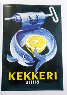 1955 Erik Bruun (Finnish/Finland graphic designer) advertising poster for Kekkeri canned herring. Vintage Food Posters, Vintage Advertising Posters, Vintage Labels, Vintage Advertisements, Vintage Ads, Poster Ads, Ad Art, Cool Posters, Retro Posters