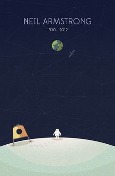 """21 year old South Korean graphic designer, Nico Encarnacion, created this perfect tribute to American astronaut Neil Armstrong who passed away this weekend. On his blog he wrote, """"You have been the reason of many a child's dreams… to go where no man has gone before."""" May we all strive to do the same. via: thedpages"""