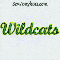 Wildcats team name sports machine embroidery design