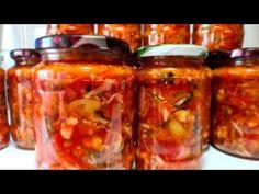 Murături asortate pentru iarnă - salată de cruditați - fără conservanți, fierbere, sterilizare - YouTube Pickles, Mason Jars, Food And Drink, Cooking, Youtube, Preserves, Kitchen, Pickle, Canning Jars