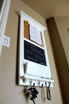 Vertical Wall Chalkboard Cork Bulletin Board With Mail Organizer And Storage Key Hooks