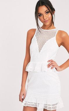 3cfa105964b8 Verity White Sleeveless Lace Tiered Bodycon Dress