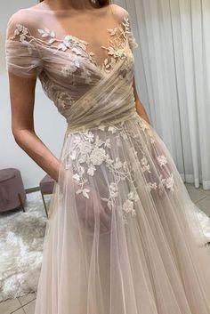 champagne tulle lace long prom dress, lace evening dress Light champagne tulle lace long prom dress, lace evening dress on Storenvy Unique Dresses, Pretty Dresses, Beautiful Dresses, Elegant Dresses, Unique Colored Wedding Dresses, Unconventional Wedding Dress, Awesome Dresses, Unique Wedding Gowns, Romantic Dresses