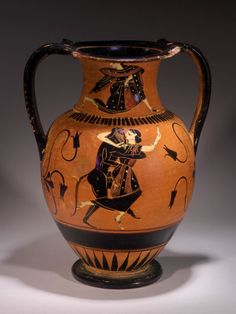 ATTIC BLACK-FIGURE AMPHORA. THE CLASS OF THE CABINET DES MEDAILLES 218 Nikosthenic subgroup. On either side a nude satyr clasps a fleeing maenad. On the neck, a running maenad. Ca. 525-515 BC H. 8 1/2 in. (20.6 cm.) Ex English collection. Published: J. Eisenberg, Art of the Ancient World, 2001, no. 184; J. Eisenberg, Art of the Ancient World, 2007, no. 114; J. Eisenberg, One Thousand Years of Ancient Greek Vases II, 2010, no. 119.