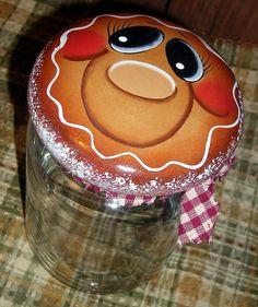 Gingerbread Hand Painted Storage Jar by PaintingByEileen on Etsy, $9.50