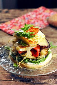 Halloumi and grilled veggie burgers   Dorian Nieto