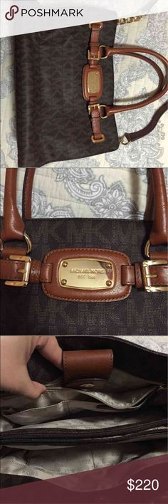 Michael Kors Signature Print satchel Michael Kors signature medium satchel in perfect condition. Only worn twice and no signs of wear or damage. Smoke free home. Dust bag included. Michael Kors Bags Satchels