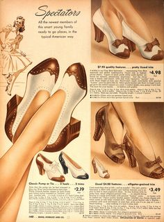 shoe ad Love the bottom right shoes with the bows. Practical and fe… shoe ad Love the bottom right shoes with [. 1940s Shoes, Retro Shoes, Vintage Shoes, Vintage Outfits, Vintage Purses, Moda Vintage, Vintage Love, Vintage Ads, Vintage Posters