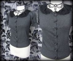 Gothic Rose Grey Black Ruffle Lace Cardigan Top 8 10 Rockabilly 50's Vintage | THE WILTED ROSE GARDEN on eBay // Worldwide Shipping Available