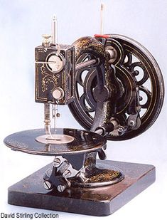 "❤✄◡ً✄❤ The 1877 patent takeup device, mounted within the needlebar cover can clearly be seen in this photo of a fine condition ""New"" Little Wanzer. - http://www.dincum.com/library/libraryimages/lib_wanzer_little_new.jpg"