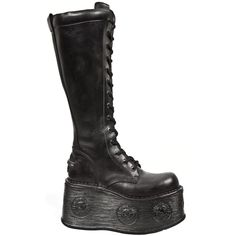Black Leather Spacewalker Combat New Rock Boots   Part Number 235-S2