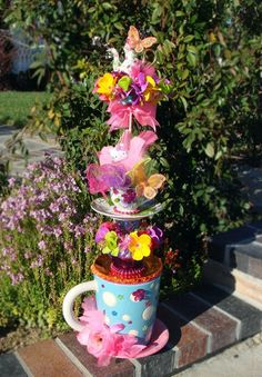 This is so adorable - Whimsical TEA CUP TOWER Centerpiece Fairy Princess Hello Kitty AliceTea Party