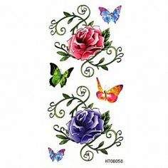 a199c8eae4556 Taobaopit Coloful Butterflies and Roses Waterproof Temporary Tattoo Body  Art Sticker(10 pcs/lot