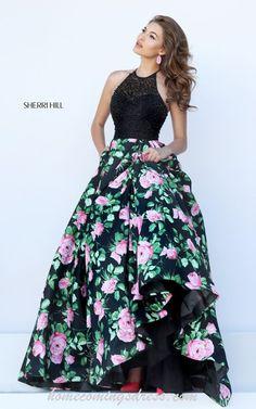 b892f3bd330 Beaded Sherri Hill 50425 Halter Floral Print Pageant Dress 2016 Homecoming  Dresses