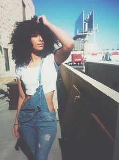 Natural hair. Denim Dungarees. Urban Fashion. Urban Outfit. Swag. Dope. Hip Hop Fashion