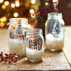 Create pretty holiday scenery inside Mason Jars with frosty snow and figurines.