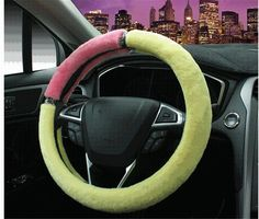 NewLove Universal Fits Most Car Styling Steering Wheel Non Slip Candy Colors Hit Color Stitching Korean Women Cute Plush Car Steering Wheel Cover -- Awesome products selected by Anna Churchill