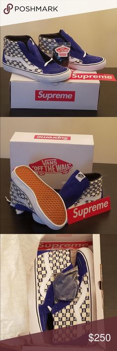 Supreme Van Exclusive SK8 Hi 2016 Supreme®/Vans® Checker Logo Sk8-Hi Pro Color: Blue Size: 10.5 Brand New & 100% Authentic  Description: Canvas upper with printed pattern, vulcanized waffle outsole and custom heel lable. Made exclusively for Supreme. Vans Shoes Sneakers