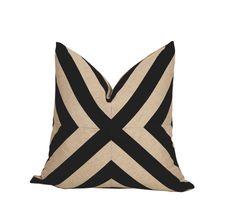 Black and Natural Linen Patchwork X Pillow