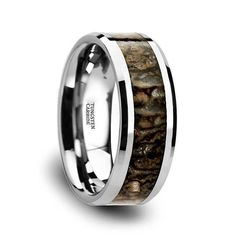 Thorsten Filigree Floral Leaf Design Print Pattern Ring Flat Black Tungsten Ring 6mm Wide Wedding Band from Roy Rose Jewelry