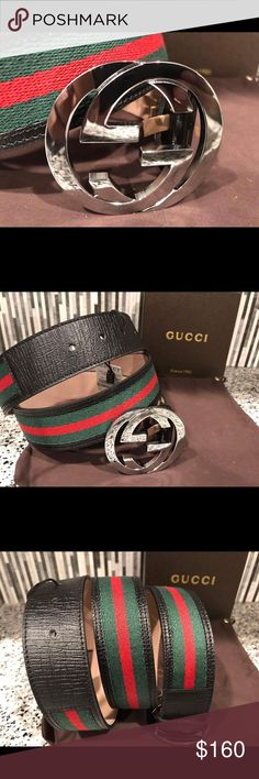 Authentic Men's Gucci Belt Black Green Red * 100% Authentic * Made in Italy 🇮🇹                                                  * Comes with box and dust bag                             * Brand new with tags                                                                                * Amazing deal compared to MSRP $375 * Sizing made easy, just choose what size you wear pants in!  *** Bundling will save you money!! Buy more than one at a time!*** 💰 Gucci Accessories Belts