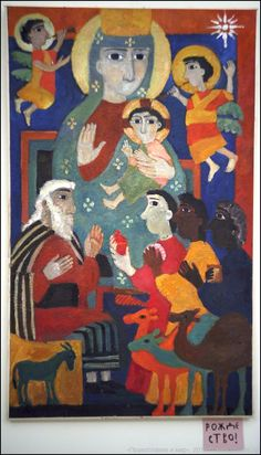 by Helena Cherkasova Moscow, Russia) Religious Icons, Religious Art, Naive, Palette Art, Crow Art, Catholic Art, Prayer Cards, Art Icon, Orthodox Icons