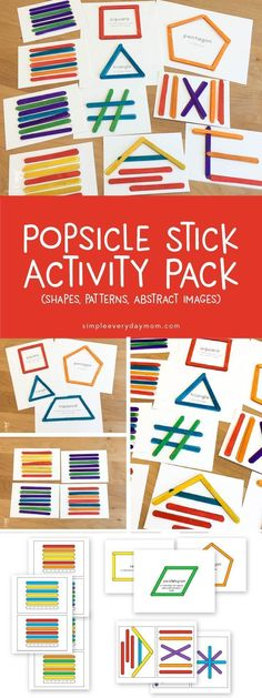 These popsicle stick activities are so fun for kids of all different ages. Toddlers will love matching, while older Elementary aged kids will be challenged while they try to figure out the pattern and build abstract shapes in the correct order. It's a fun teaching activity for school or home and it also works great for busy bags while you're out! #busybag #homeschoolingideasfortoddlers #homeschoolingfortoddlers